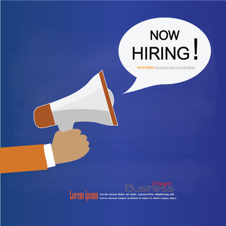 recruit help: We Are Hiring.hand hold megaphone with we are hiring word on chalkboard.recruitment concept.vector illustration.