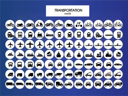 motorized bicycle: Transport icons.transportation on chalkboard.transportation .logistics.logistic icon.vector illustration.