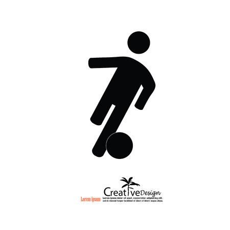 ballsport: man play football.man icon.vector illustration. Illustration