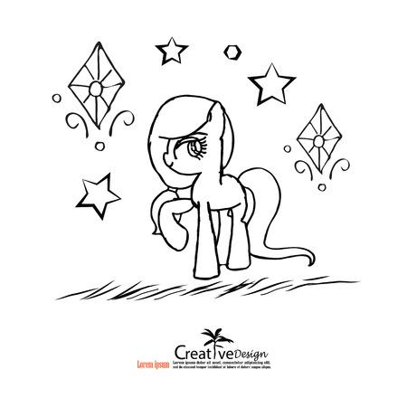 lowbrow: cartoon unicorn.unicorn.vector illustration. Illustration
