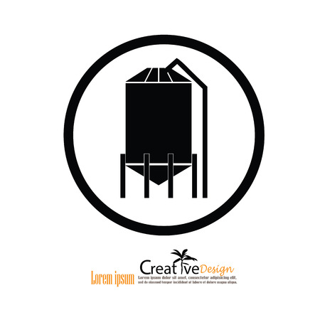 oil crops: grain silo.silo.vector illustration. Illustration