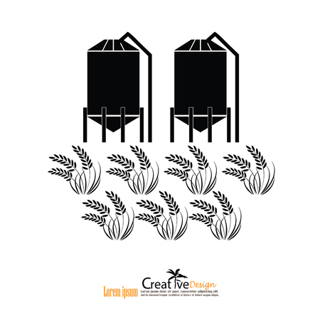 grain silo.silo and rice.vector illustration.