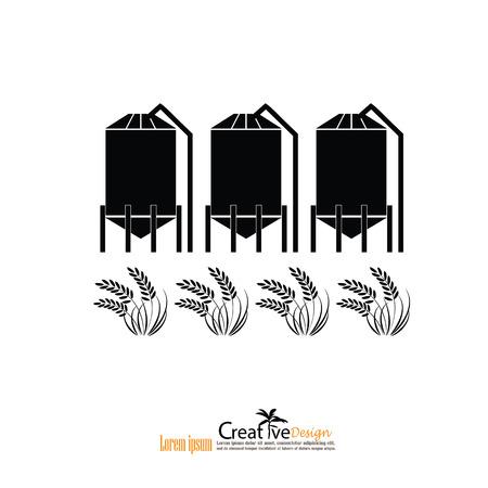 grain silo.silo and rice.vector illustration. Vektorové ilustrace