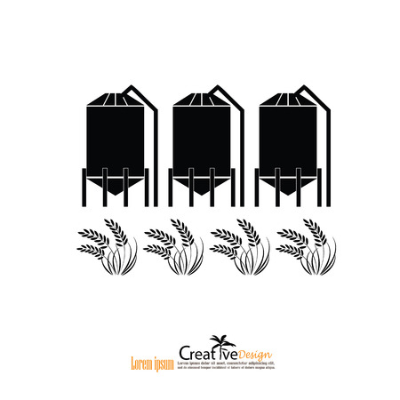 oil crops: grain silo.silo and rice.vector illustration.
