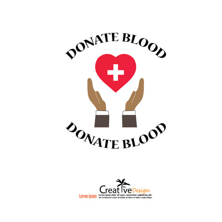 rh: donate blood concept.hands  with donate blood. vector illustration