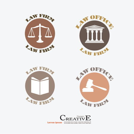 supreme: Justice court building image with scales of justice and gavel.vector illustration.