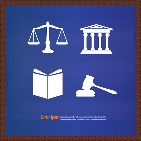 supreme court: Justice court building image with scales of justice and gavel on chalkboard.vector illustration.