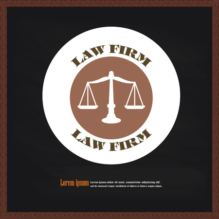 fair trial: Justice scales icon on chalkboard.vector illustration. Stock Photo