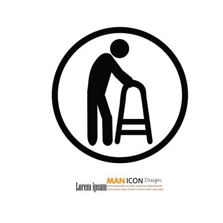 old couple walking: Elder icon.old man.old man with walker.vector illustration. Illustration