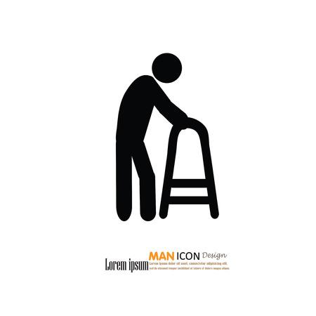 elder: Elder icon.old man.old man with walker.vector illustration. Illustration