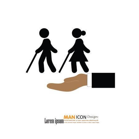 signs and symbols: Elder icon.old man.old man with hand.elder concept.vector illustration.