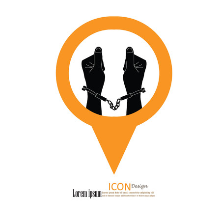 lockup: human hands  handcuffed.hands with handcuff.vector illustration. Illustration