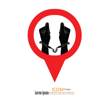 lockup: human hands  handcuffed.hands with handcuff.vector illustration. Illustration