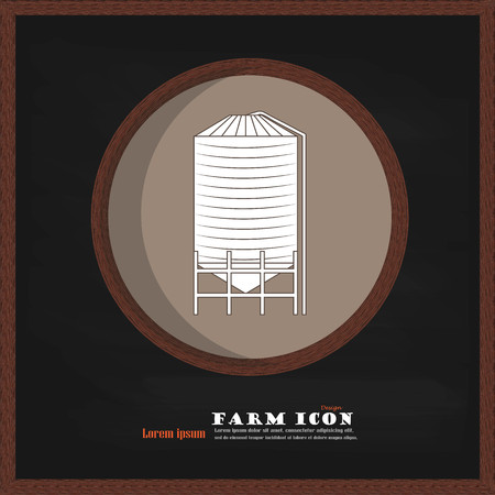 oil crops: grain silo on chalkboard.silo.vector illustration.