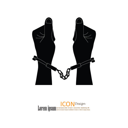 repress: human hands  handcuffed.hands with handcuff.vector illustration. Stock Photo