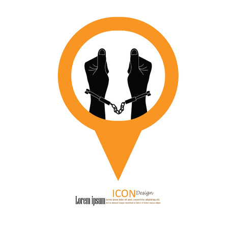 lockup: human hands  handcuffed.hands with handcuff.vector illustration. Stock Photo