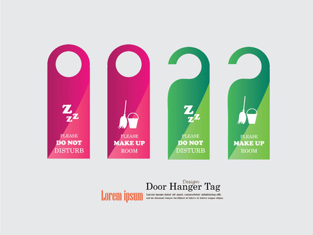 Door Hanger Tags for Room in Hotel or Resort .vector illustration.
