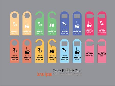 door hanger: Door Hanger Tags for Room in Hotel or Resort .vector illustration.