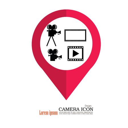 camera film: camera and film.Video camera and film icon. Vector illustration.