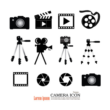 camera tripod film and accessories icon.Video camera and film icon. Vector illustration.