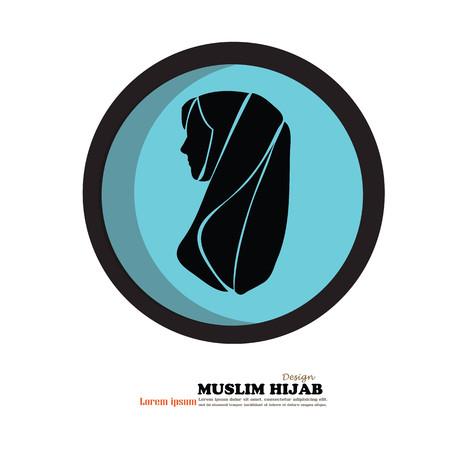 Moslimvrouwenpictogram met hijab. Aziatisch moslim traditioneel hijab.islam vrouwenteken Vector illustratie.