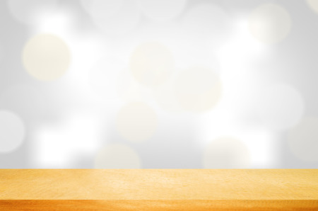 colorful light display: Old  wood table top on colorful blurred light abstract background . use  for display or montage your products Stock Photo
