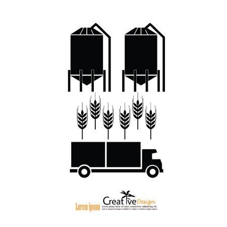 silos: grain silo.silo , rice ,truck.vector illustration.