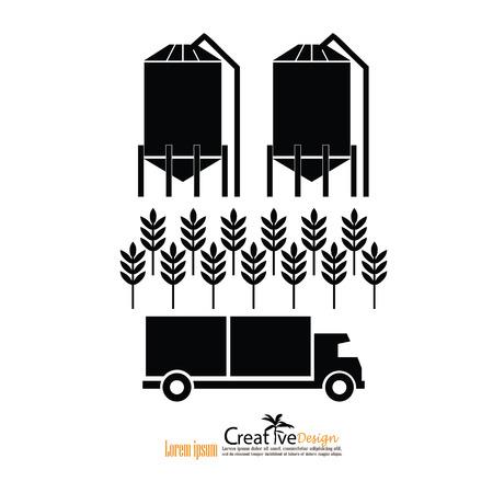 rice grain: grain silo.silo , rice ,truck.vector illustration.