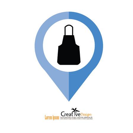 mandil: delantal delantal icon.apron.Kitchen. Ilustración del vector.