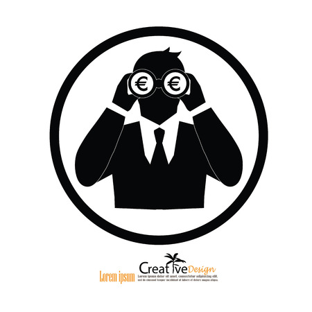 man hold binoculars with money icon.business concept.  .Vision concept. vector illustration.