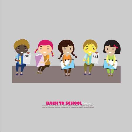 pupil's: pupils boys and girls.boys and girls in school.vector illustration. Illustration