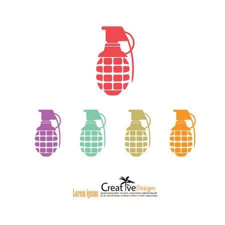 fragmentation: hand grenade.vector illustration.
