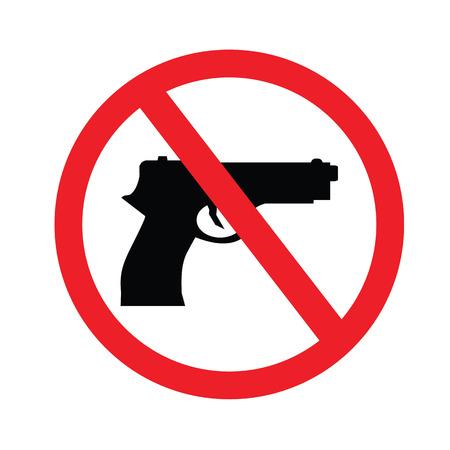 prohibido: Muestra prohibida ningún arma. ilustración vectorial. Vectores