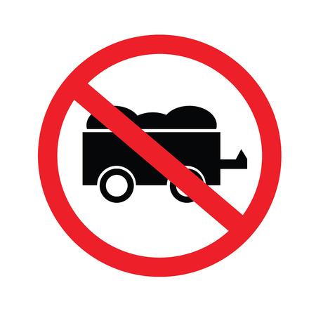 no coal cart.prohibit sign.vector illustration.