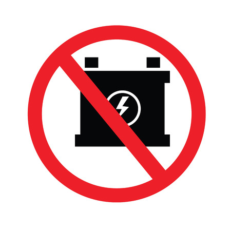 Prohibit sign. no car battery charging icons.vector illustration. Illustration