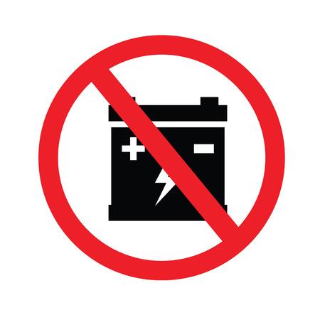 prohibit: Prohibit sign. no car battery charging icons.vector illustration. Illustration