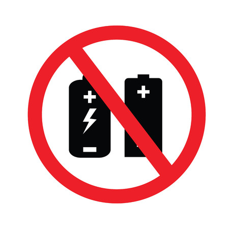 prohibit: Prohibit sign. no battery charging icons.vector illustration. Illustration