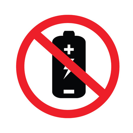 cell charger: Prohibit sign. no battery charging icons.vector illustration. Illustration