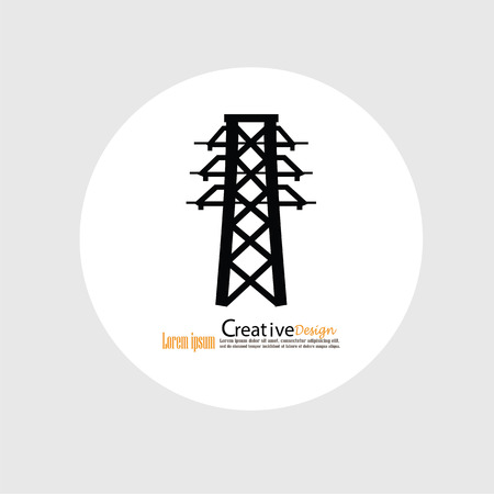 mains: Electricity icon.electricity pole.vector illustration.