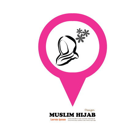 religious clothing: Muslim woman  icon with hijab. Asian muslim traditional  hijab.islam woman sign.vector illustration.