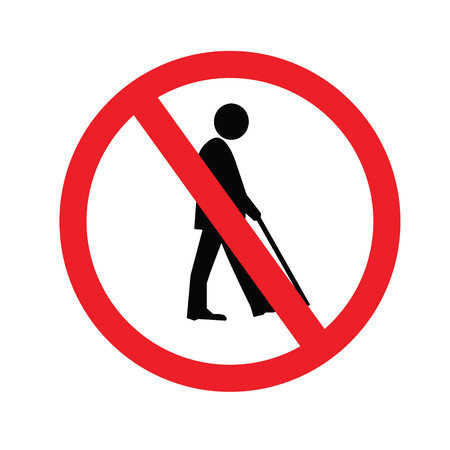 old couple walking: no elder entrance.old man.vector illustration. Illustration