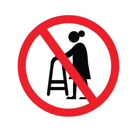 elder: no elder entrance.old man.vector illustration. Illustration