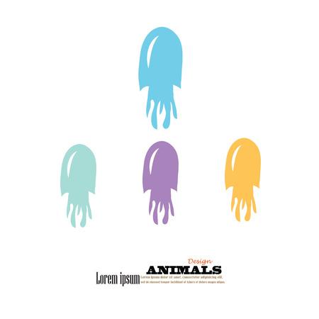 cuttlefish: squid icon.cuttlefish.vector illustration. Illustration