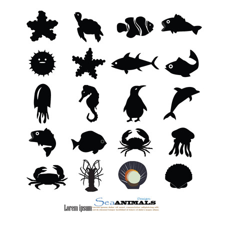 and marine life: marine life elements.sea animals.vector illustration.