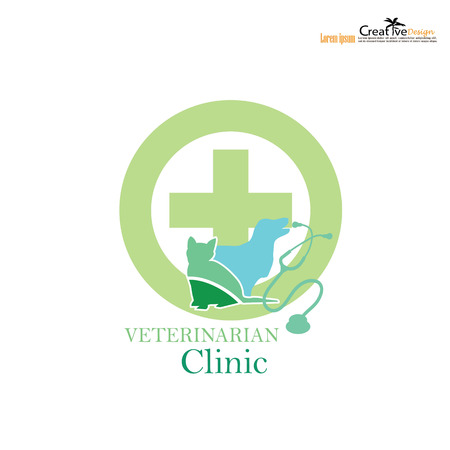 veterinary symbol: veterinary symbol with cross and pets. Illustration