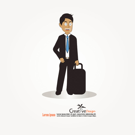 doubtful: Business man cartoon character. Business man with suit.vector illustration
