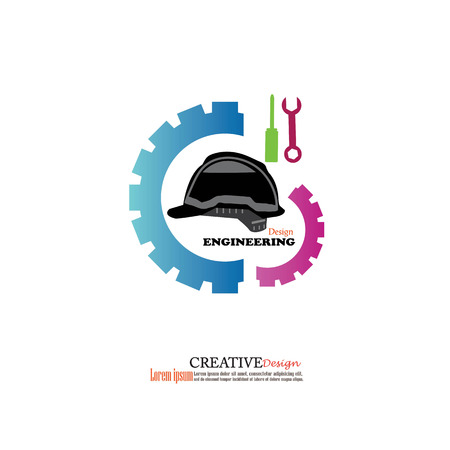 gear shape: Industrial design concept. Gear shape symbol.Corporate for production or service and maintenance business.vector illustration.