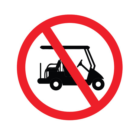 No driving golf carts. Prohibition sign for the vehicle in the area. Vector illustration.