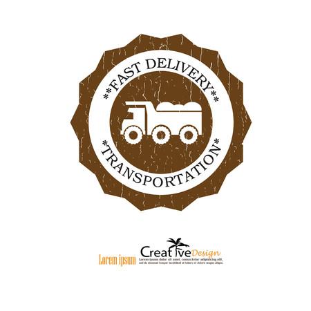 ore: grunge classic dump truck, emblems, badges,restoration and club design elements. Vector illustration. Illustration