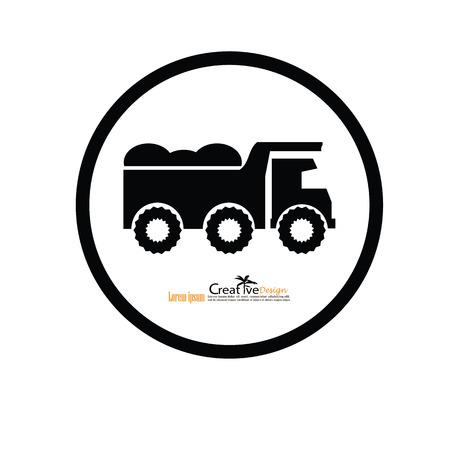 ore: classic dump truck, emblems, badges,restoration and club design elements. Vector illustration.